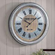 Home Decor Metal Wall Clock Decor Roman Numerals Grand Hotel