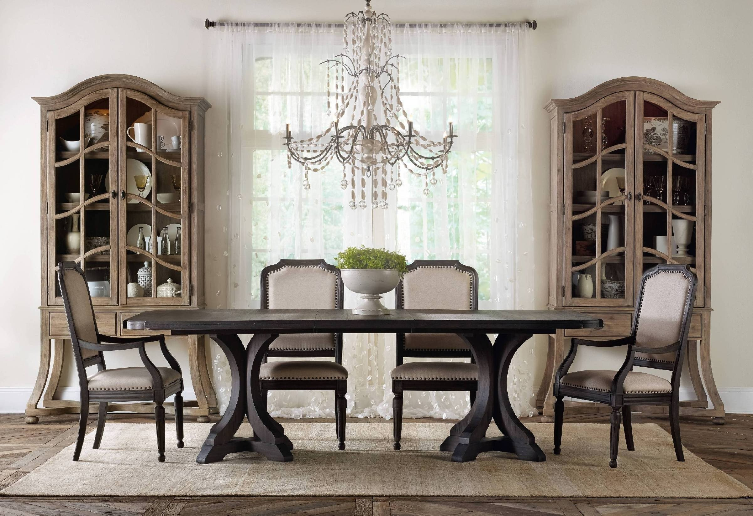 Hooker Corsica Rectangular Pedestal Dining Table with Leaves Rustic Furniture Tables Simple Elegant Traditional Casual
