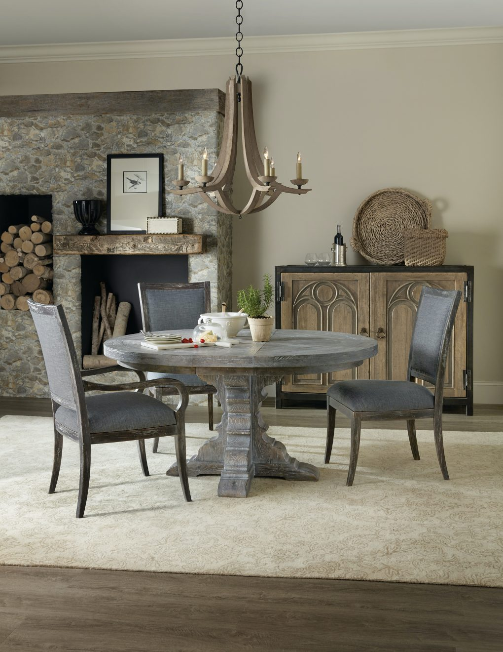Hooker Beaumont Round Dining Table with 48in Wood Top w/2-12in Leaves | Shale