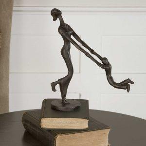 Uttermost At Play Sculpture Art Metal MOther Child Son Figure Figurine Metal Iron Bronze Gift