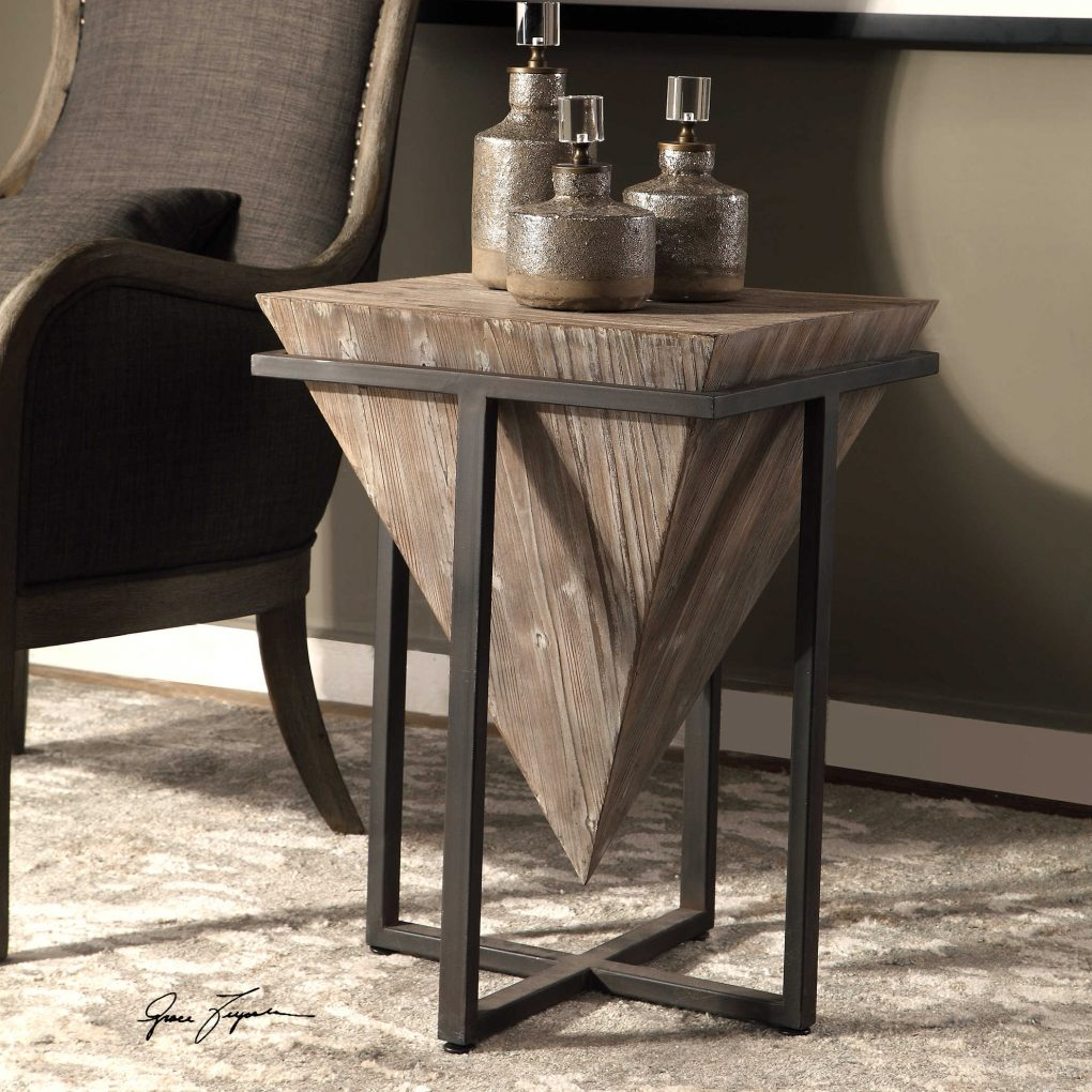 Uttermost Wood Natural Metal Frame Small Bertrand Accent Table