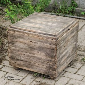 Uttermost Avner Cube Table Natural Wood Distressed Accent Modern