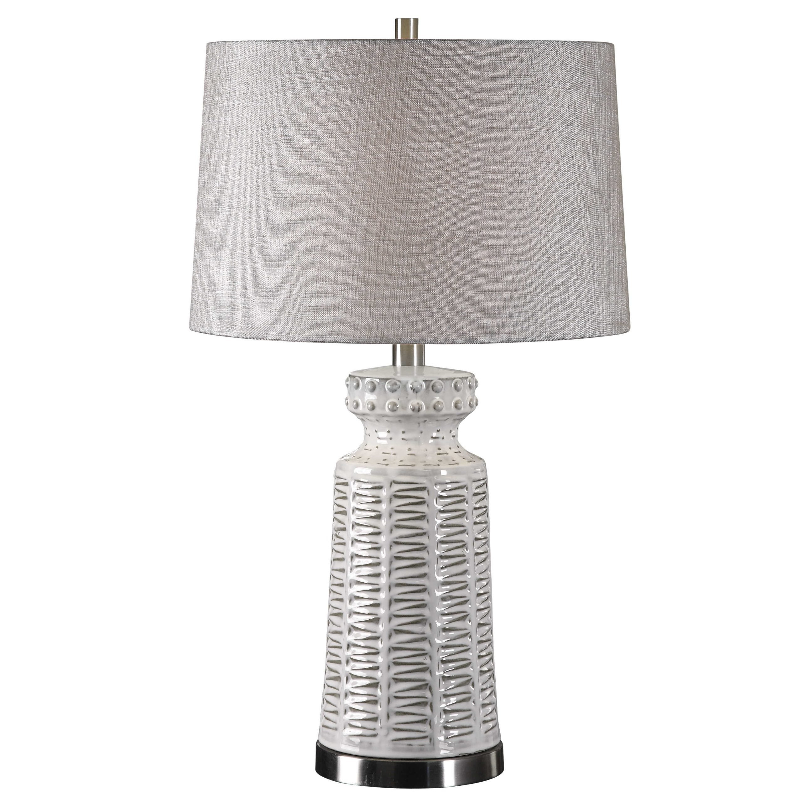 Uttermost Kansa Table Lamp White Ceramic Decorative Canvas Distressed