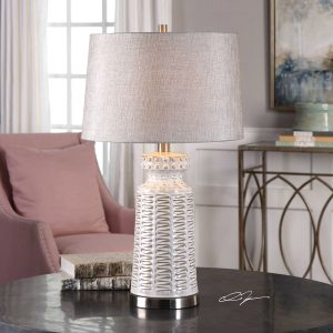 Uttermost Kansa Table Lamp White Ceramic Decorative Canvas Distressed
