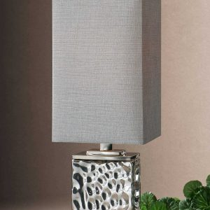 Uttermost Bashan Accent Lamp Accent Table Metal Classy Modern Chic Silver