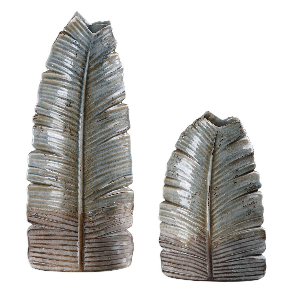 Uttermost Invano Vases Set of 2 Ceramic Gray Leaved Leaf Brown Neutral Vase