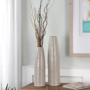 Uttermost Sara Vase Grey Neutral Natural Brown Tall Vase