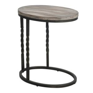 Uttermost Tauret Rustic Modern End Accent Wood Steel Metal Natural Side Table