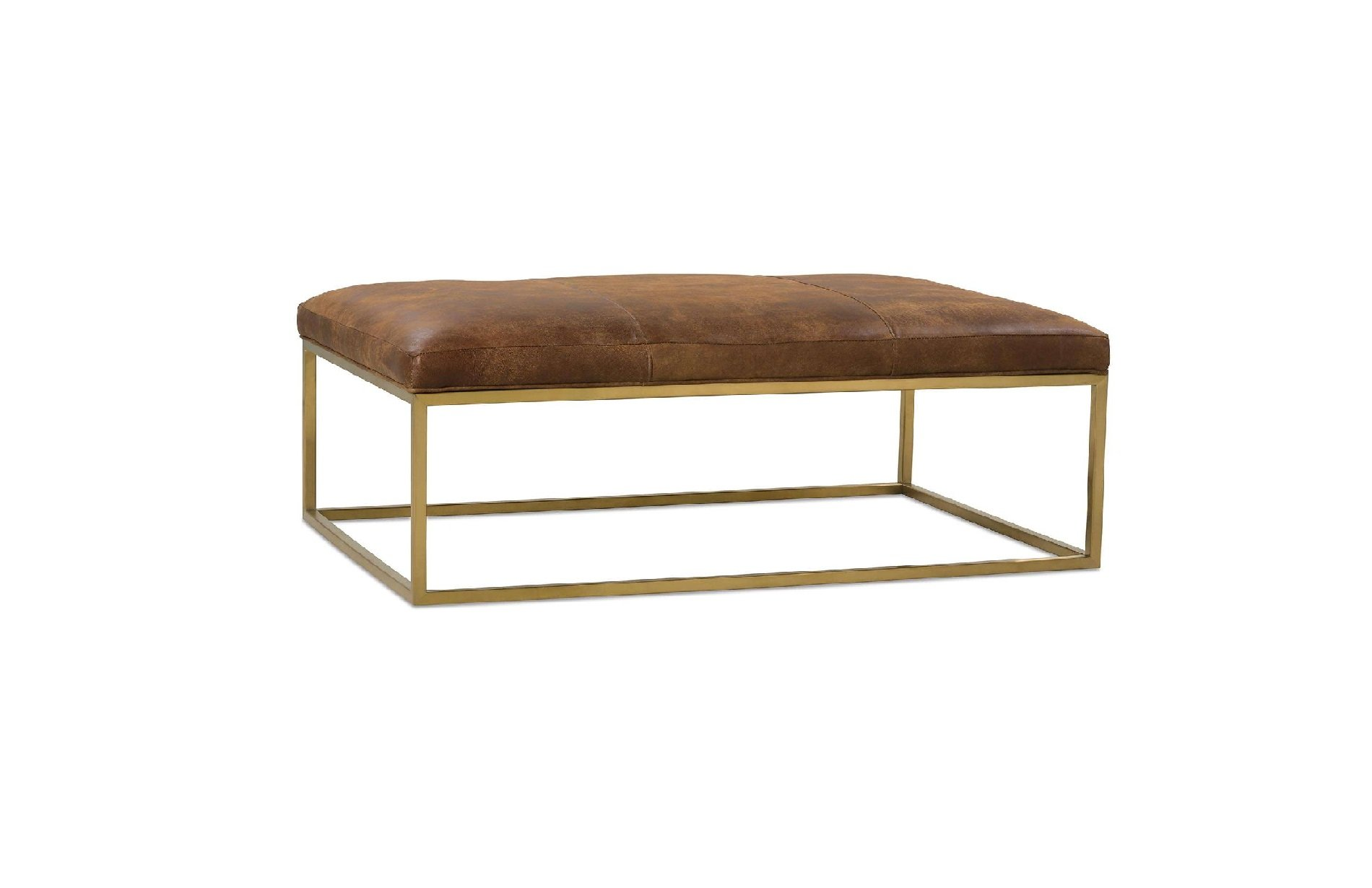 Rowe Percy leather cocktail table gold