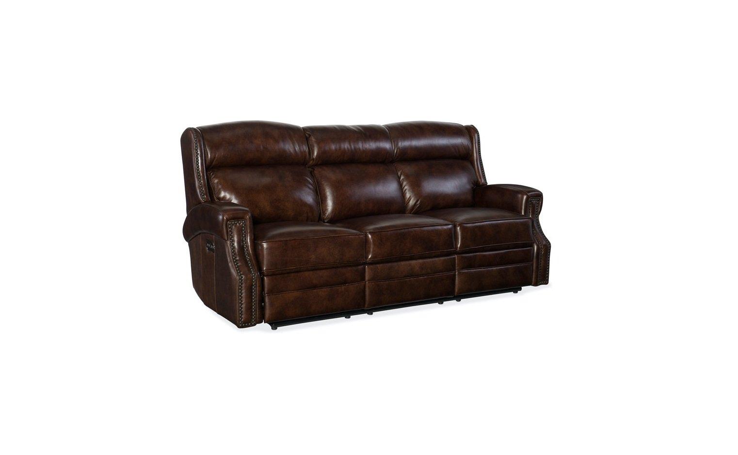 Hooker Furniture Living Room Carlisle Power Recliner Sofa w/ Power Headrest