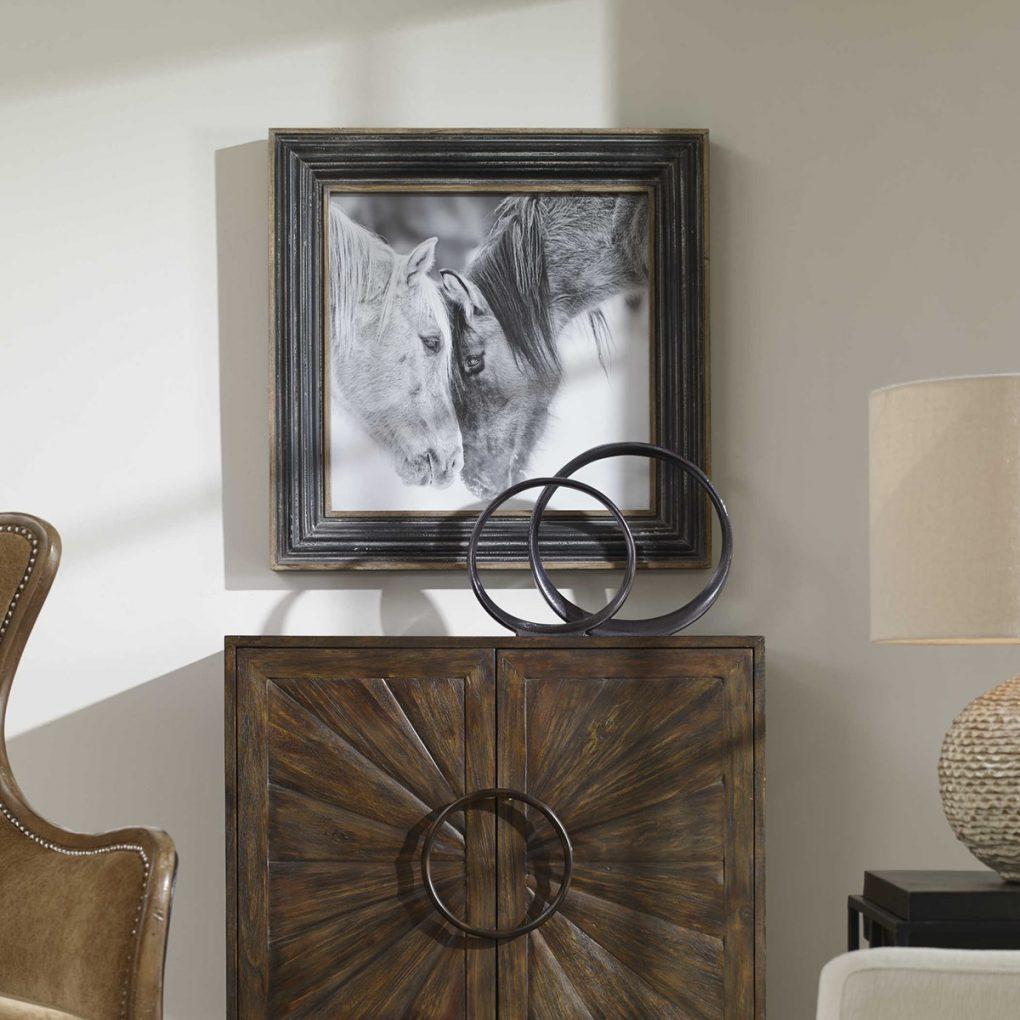 Uttermost Black and White Horses Framed